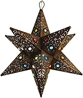 Unique Beautiful Handmade Hanging Star Lamp with 12 Points! for Home and Garden Decor by SHOPIMUNDO. Outdoor Hanging Decorative Star Lantern with Marbles, You Will Love it! New Design 2019