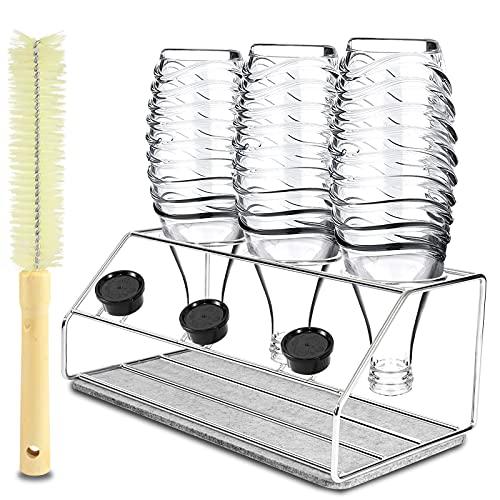 GUSUWU Portabottiglie Premium, scolapiatti in acciaio inossidabile 304 per bottiglie SodaStream Crystal ed Emil ,con pennello e tampone assorbente(3 bottiglie e 3 coperchi)