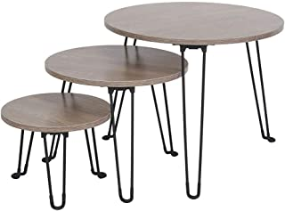 Yosoo Nesting Tables Coffee End Tables Set of 3 for Living Room, Sofa Table Side Table with Metal Leg