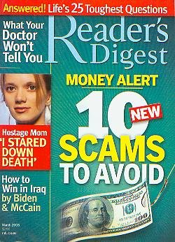 Reader's Digest March 2006 - Life's 25 Toughest Questions, Hostage Mom, Money Alert 10 New Scams to Avoid, How to Win in Irag