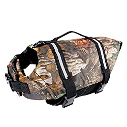 Camo Pet Life Preserver Jacket,Camouflage Dog Life Vest with Adjustable Buckles,Dog Safety Life Coat for Swimming, Boating, Hunting