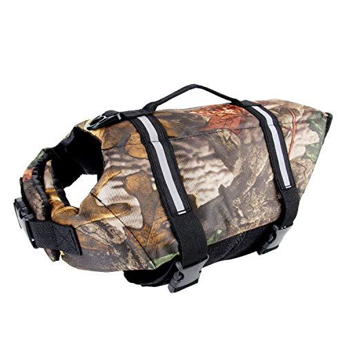 Camo Pet Life Preserver Jacket,Camouflage Dog Life Vest with Adjustable Buckles,Dog Safety Life Coat for Swimming, Boating, Hunting | (XS, S, M, L, XL) …