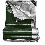 OeltWsoif Resistente Impermeable Lona,Multi-propósito Resistente A Los Rayos UV Reversible Lona Alquitranada Cubierta para Tiendas De Campaña Paisajismo Barcos Protección contra el Clima-Verde 5x6m