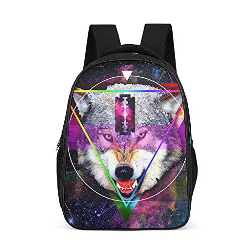 Mochila trippy wolf animal diseño Bookbag resistente al agua Daypack Business Bag para hombres y mujeres, color, talla Talla única