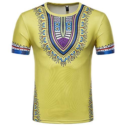 CFWL Sommer LäSsig Mode MäNner Kreative Ethnischen Stil Blumen 3D-Bedruckten Kurzarm-T-Shirt Hemd Aus Bambusfaser Umweltfreudlich Elastisch Slim Fit FüR Freizeit Business Gelb M