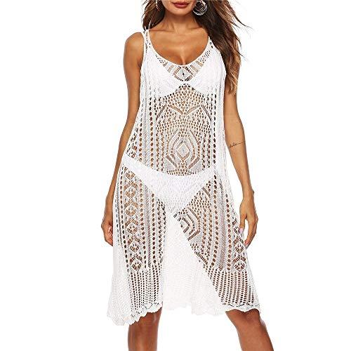 KCLONAZS Mujer Traje de baño Traje de baño Bikini Traje de baño Playa Cubierta de Playa sin Mangas Hueco Fuera de Ganchillo Vestido Verano Casual Vestido de Chaleco (Color : White)