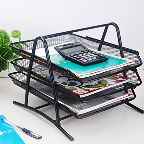 ViewHuge 3 Tier Metal Desktop File Organizer,Storage Rack Tray Document Office Supply Caddy Paper Holder for Folders Papers Letter