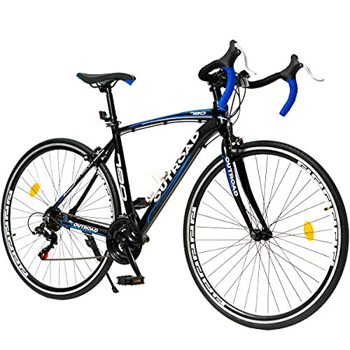 Max4out Road Bike for Men and Women with Aluminum Alloy Frame, Featuring 14 Speed, 700C Wheel and Disc Brake Bicycles (Blue/21 Speed/Y Brake)