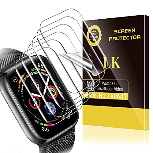 6 Pack LK Screen Protector Compatible with Apple Watch Series 7 41mm / Apple Watch Series 6 SE 5 4 40mm, Model No. LK0541, Bubble Free, HD Transparent Flexible TPU Film