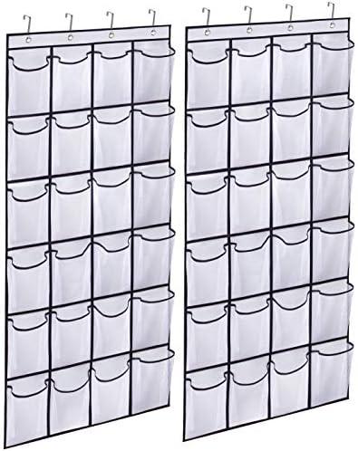 KIMBORA 2 Pack Over the Door Shoe Rack Organizer 24 Large Mesh Pockets Hanging Shoe Hanger Holder product image