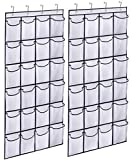 KIMBORA 2 Pack Over the Door Shoe Rack Organizer 24 Large Mesh Pockets Hanging Shoe Hanger Holder for Closet (white)