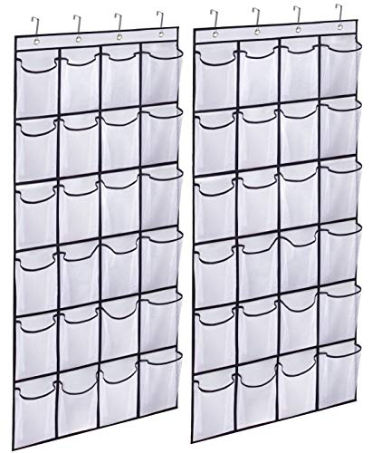 KIMBORA 2 Pack Over the Door Shoe Rack Organizer 24 Large Mesh Pockets Hanging Shoe Hanger Holder for Closet white