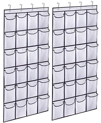 KIMBORA 2 Pack Over the Door Shoe Rack Organizer 24 Large Mesh Pockets Hanging Shoe Hanger Holder for Closet (white)