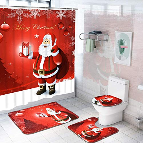 Alishomtll 4 Pcs Merry Christmas Shower Curtain Sets with Non-Slip Rugs, Toilet Lid Cover, Bath Mat and 12 Hooks Santa Xmas Tree Ball Snowflake Shower Curtain for Christmas