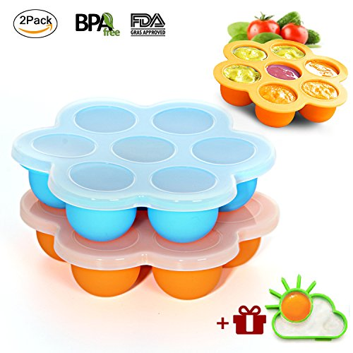 Ousum 2 Pack Silicone Egg Bites Molds, Baby Food Freezer Containers Trays and Ice Cube Trays with 2 Silicone Lids for Instant Pot Accessories, Microwave oven, Refrigerator