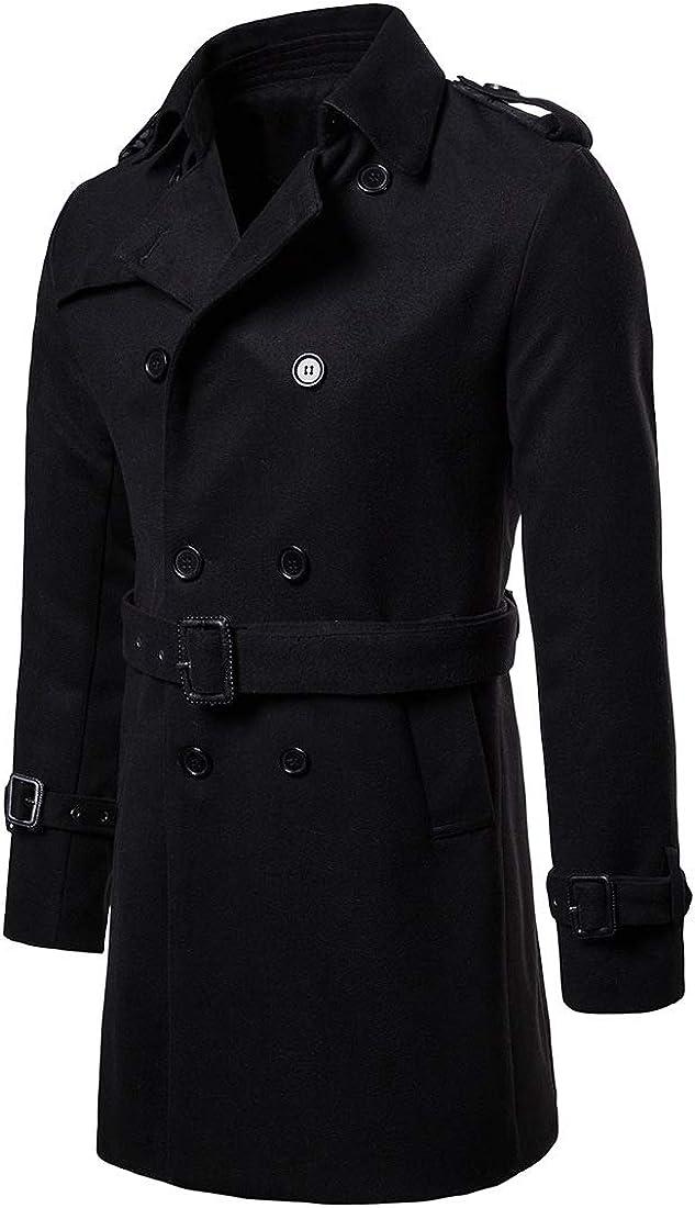 Kalanman Mens Classic Wool Blend Double Breasted Winter Overcoat Pea Coat