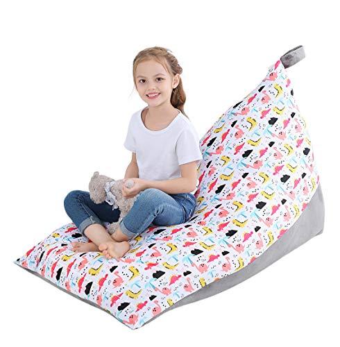 SoulQ - Pouf imbottito per bambini, 200 l, grande borsa portaoggetti per bambini, pieghevole, in morbido velluto, comodo e comodo supporto per giocattoli per adolescenti e adulti (colore E)