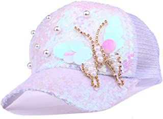 Summer Mesh Baseball Cap with Sequins Butterfly Rhinestones Women Women 5 Panel Sun Casual Hat