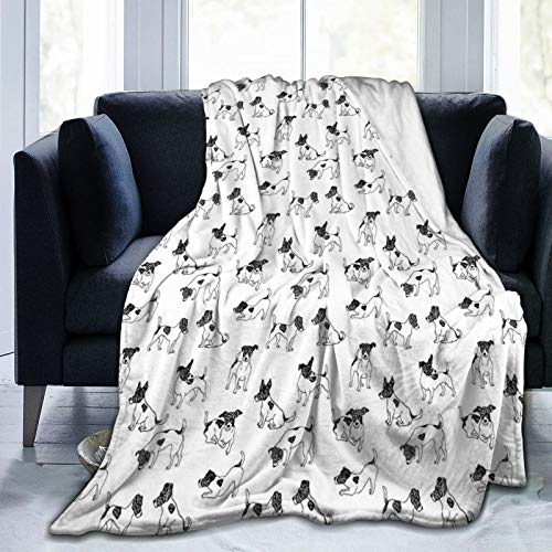 LASINSU Flannel Fleece Soft Throw Blanket,Sketch Style Hand Drawn Jack Russell Terrier Doodles In Various Stances Purebred,for Settees/Sofa/Chairs/Couch Lightweight,Warm and Cozy(153x127cm)