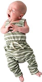 ベビー服 男の子 女の子 ロンパース ストライプ柄 ロンパース 袖なし カバーオール ボディオール ボディスーツ 新生児 連体服 子供服 キッズ服 肌着 パジャマ ベビーウエア 下着 満月/出産祝い/プレゼント