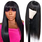 Human Hair Wigs with Bangs Silky Brazilian Virgin Straight Hair Wigs None Lace Front Wigs Glueless Machine Made Wigs for Black Women 150% Density Natural Color (18 Inch)