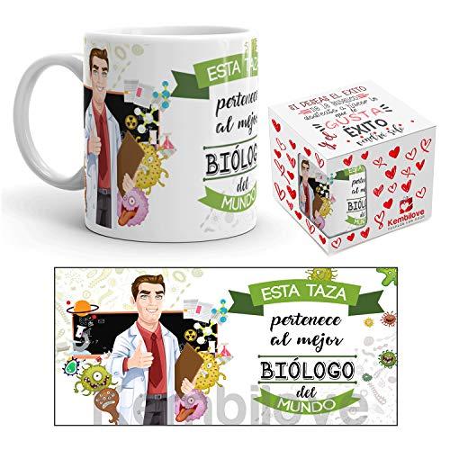 Kembilove Taza de Café del Mejor Biólogo del Mundo – Taza de Desayuno para la Oficina – Taza de Café y Té para Profesionales – Taza de Cerámica Impresa – Tazas de Jefe de 350 ml para Biólogos