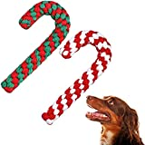 2 Pieces Christmas Pet Chew Toys Candy Cane Dog Rope Toy Dog Chew Rope Toys for Christmas Dog Puppy Pets Chewing (Red Green, Red White)