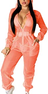 MogogoWomen Casual Leisure Active Workout Sexy Hooded See Through Romper