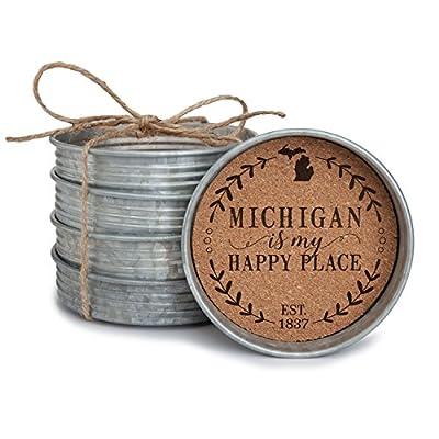 "Occasionally Made 4"" x 4"" x 1"" Alabama Mason Jar Lid Coaster Stack"
