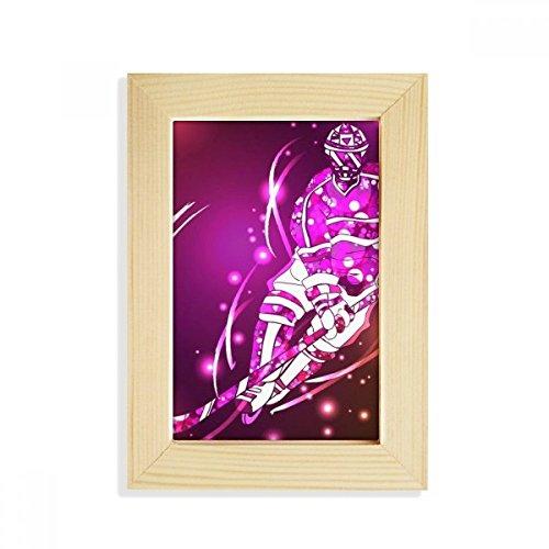 DIYthinker Sport Skifahren Eishockey Cartoon Illustration Desktop-HÖlz-Bilderrahmen Fotokunst-Malerei Passt 10.2 x 15.2cm (4 x 6 Zoll) Bild Mehrfarbig