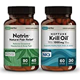 Natural Pain Relief Supplment Bundle by DailyNutra: Includes Natrin Natural Pain Reliever and Neptune Krill Oil