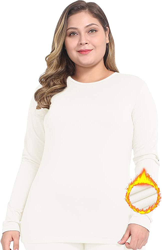 NUONITA Womens Thermal Tops Plus Size Fleece Lined Underwear Shirt Long Sleeve Base Layer