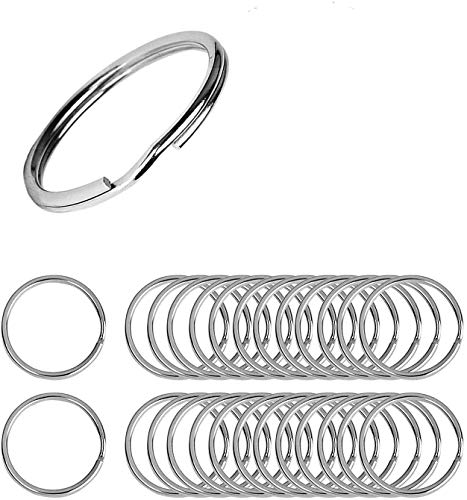 Flat Key Rings 100 Pieces 1 inches Flat Key Rings Metal Keychain Rings Split Keyrings Flat O Ring for Home Car Office Keys Attachment(Silver)