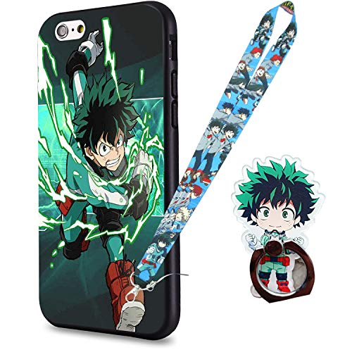 Resky My Hero Academia Anime Manga Comic Theme Case TPU Silicone Gel EDG Case Skin Protective Printed Phone Case Compatible with iPhone 6/ 6s Protection Cover 1 Anime Lanyard 1Ring Holder