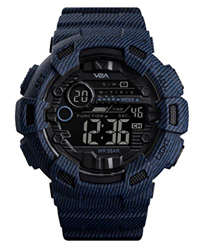 V2A Denim Blue Digital Sports Watch with Backlight Alarm Stopwatch for Men and Boys (Black Dial with Blue Strap)