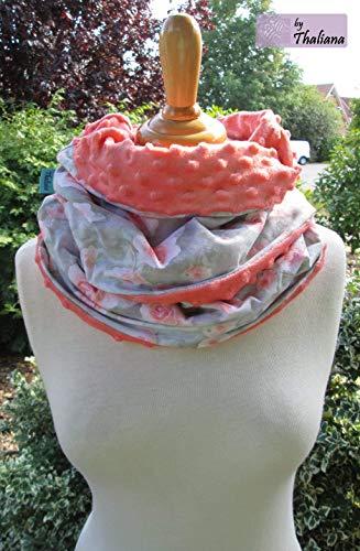 pfirsichfarbener Schal mit ROSEN Loopschal aus Jersey und Mikrofleece romantisch kuschelig Geschenk z. Geburtstag Muttertag
