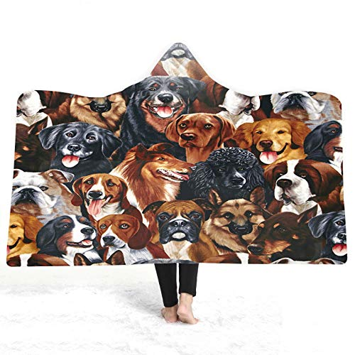 LYDXD Cartoon Pug Kids Home Thick Warm Fleece Hooded Blanket Winter Throw Blanket Sherpa Blanket For Adult 130x150cm