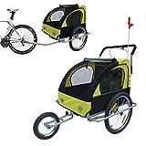HOMCOM 2 en 1 Remolque de Bicicleta para Niños de 2 Plazas con Amortiguadores Convertible en Carro para Correr con Barra y Kit de Footing 129x85x105cm Amarillo