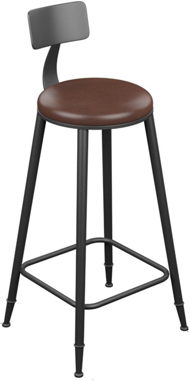 Ghjkl Bar Stool - Vintage Leather Wrought Iron Bar Stool Bar Simple Stool (Multiple by TIANTA (Size   40  40  104cm)