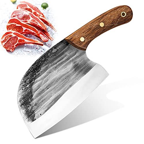 Cuchillo chino hoja de carnicero, cuchillo de cocina de serbio, forjado a mano