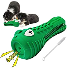 Autoau Dog Chew Toys Dog Squeaky Toys with Milk Flavor for Aggressive Chewers Tough Durable Crocodile Head Shape Dog Teeth Brush Toys with Natural Rubber (Green, Crocodile)