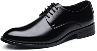 Rui Landed Men's Formal Business Shoes Classic Matte PU Leather Upper Lace Up Breathable Lined Oxfords Durable (Color : Black, Size : 42 EU)