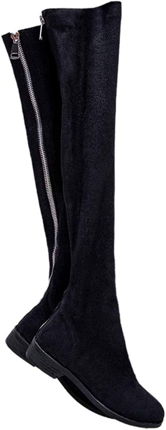 Saborz Women's Genuine Leather Black Slim Stretch Over The Knee Boots Back Zip Autumn Long Boots