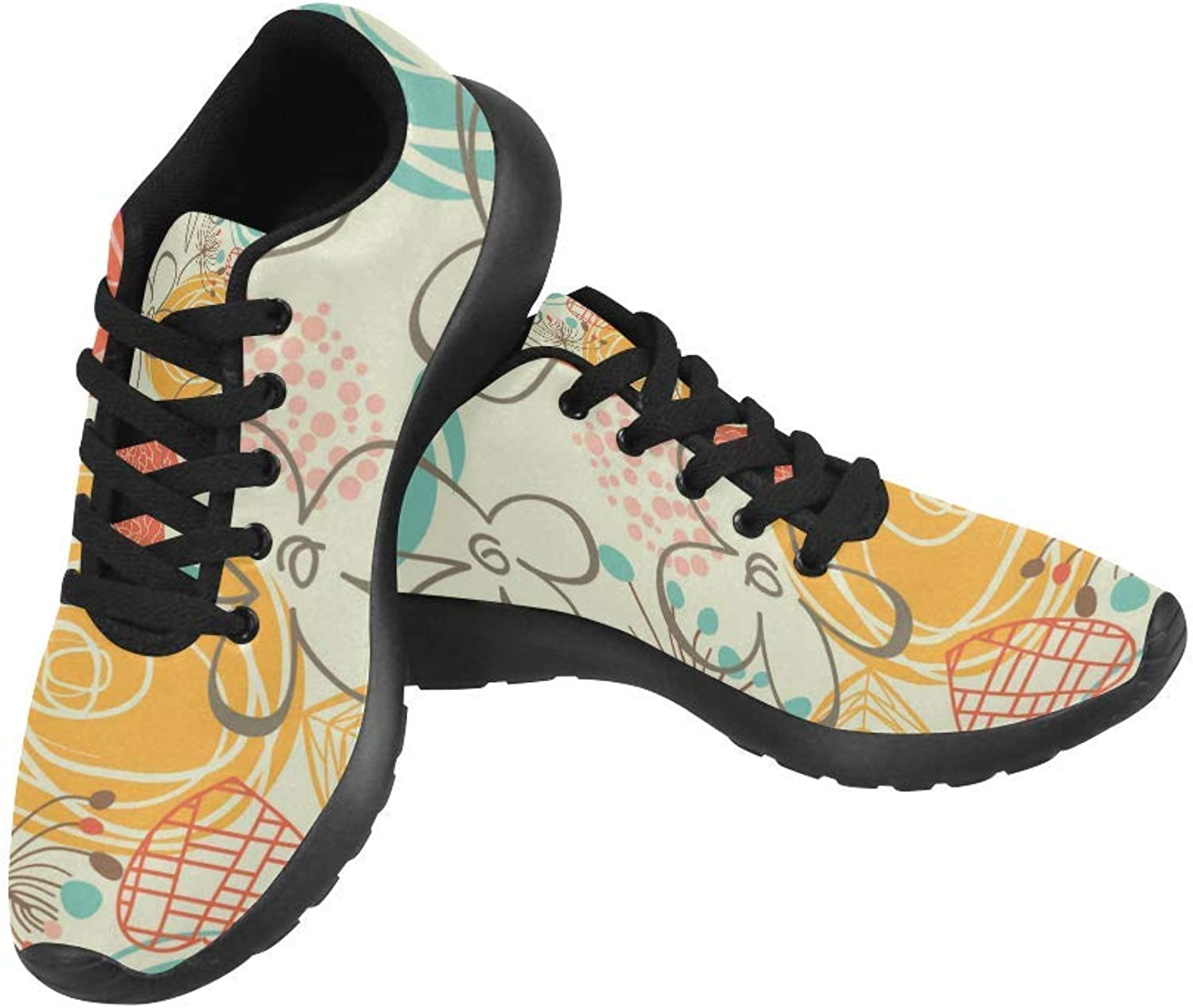 InterestPrint Retro Floral Pattern Print on Women's Running shoes Casual Lightweight Athletic Sneakers US Size 6-15