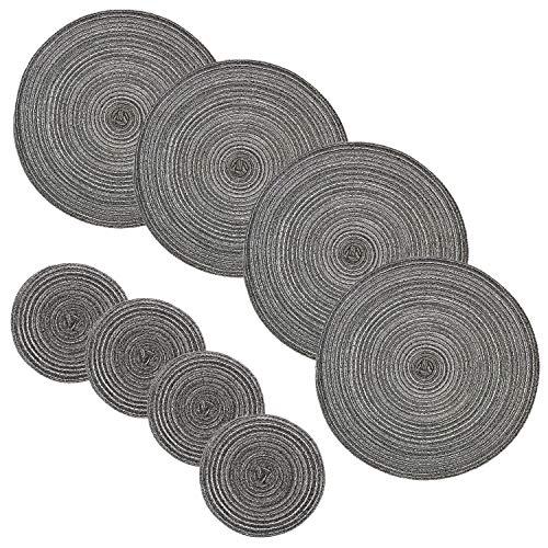 JZK 8 x grau geflochten runde tischsets und Untersetzer, 4 groß Platzsets Tischsets 36cm und 4 kleine Glasuntersetzer 18cm, draussen Innen - Esstisch Dekorationen