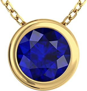Belinda Jewelz Womens 14K Yellow Gold Bezel Round 7 mm Gemstone Pendant Necklace