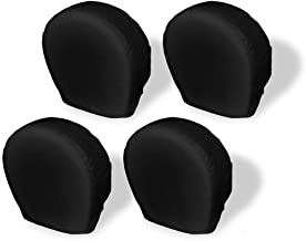 Explore Land Tire Covers 4 Pack - Tough Vinyl Tire Wheel Protector for Truck, SUV, Trailer, Camper, RV - Universal Fits Tire Diameters 26-28.75 inches, Black