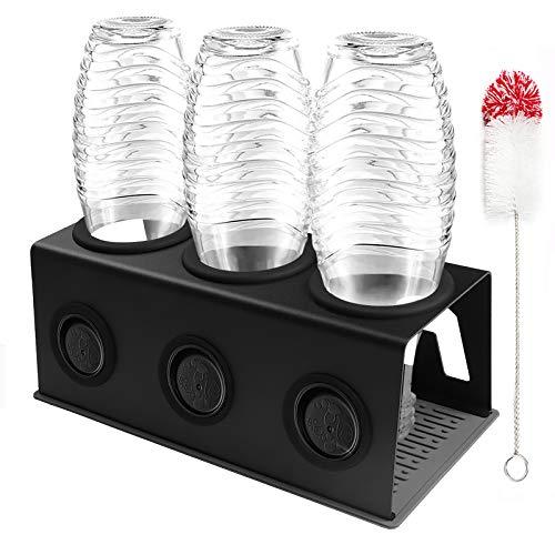 Cutemelo Flaschenhalter aus Edelstahl für SodaStream Glasflaschen mit 3er Abtropfhalter für z.B. Crystal und Pinguin und andere Glasflaschen mit Flaschenbürste und Abtropfmatte (schwarz)
