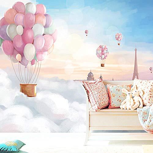 Fototapete Wandbild Vliestapete Rosa Heißluftballon Kinderzimmer Weiße Wolke Prinzessin Zimmer Wandbild Mädchen Schlafzimmer Hintergrund Tapeten 3D Tapete