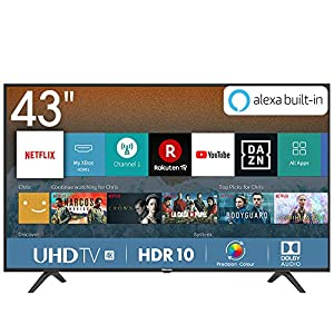 "Hisense H43BE7000 Smart TV LED Ultra HD 4K 43"", HDR, Dolby DTS, Slim Design, Tuner DVB-T2/S2 HEVC Main10, VIDAA U3.0 AI, Nero [Esclusiva Amazon - 2019]"